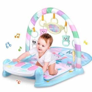 (Sỉ) Thảm nằm chơi nhạc phát triển trí tuệ cho bé yêu hình hươu – Chân màu xanh biển