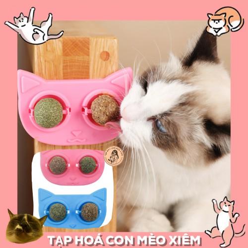 Cỏ bạc hà Catnip viên tròn dùng làm đồ chơi xoay cho thú cưng mèo - Loại 2 viên hình đầu mèo