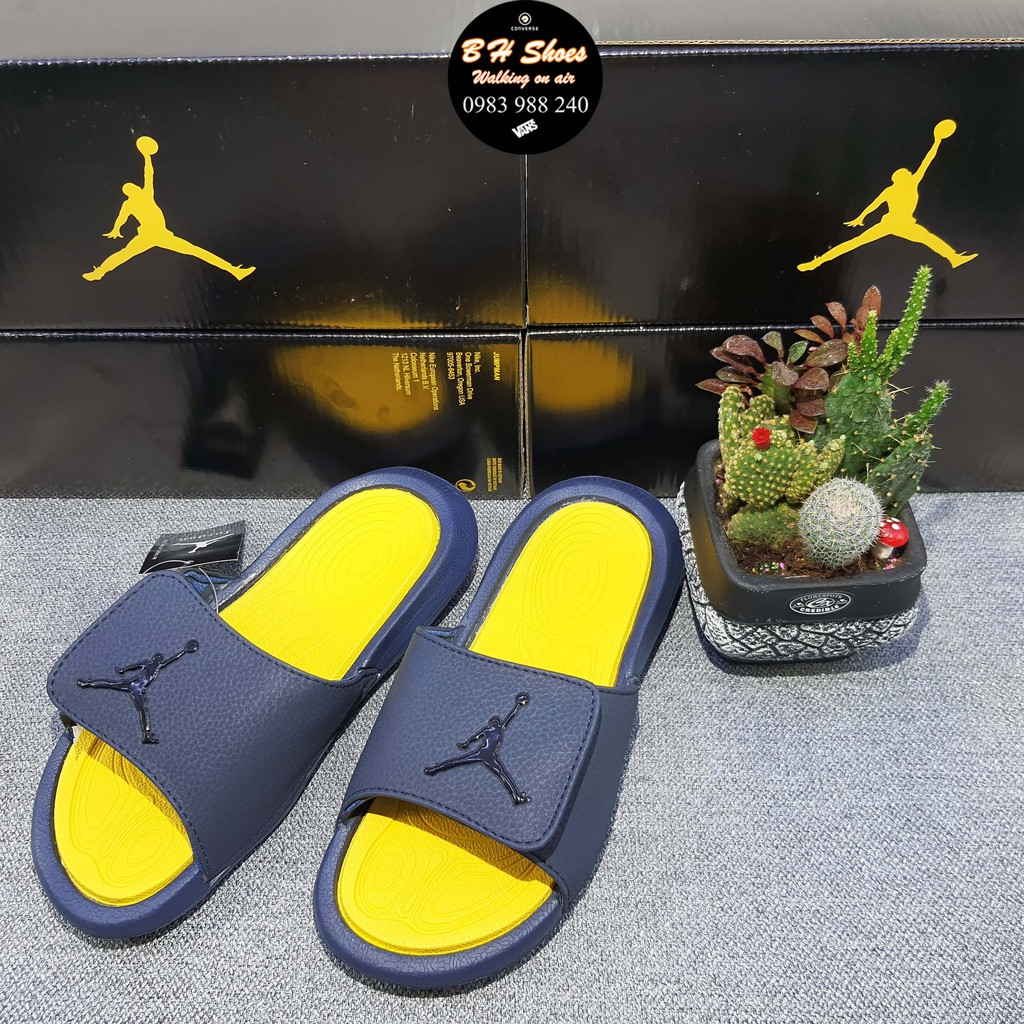 Hộp JD] Dép Jordan JD bóng rổ quai ngang dán nam nữ cao cấp đầy đủ nhãn mác, bao bì, kèm hộp JD đen bóng tem vàng.