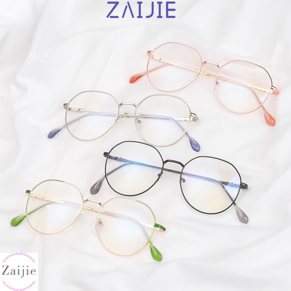 💜ZAIJIE💜 Unisex Myopia Glasses High-definition Eyeglasses Flat Mirror Eyewear Reduces Eye Strain Metal Round Frame Ultralight Blue Rays Radiation Anti-UV/Multicolor