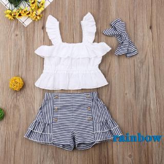 ✯☽Toddler Kid Baby Girl Strap Tops+Stripe Shorts+Headband 3PCS Outfits Set Sunsuit