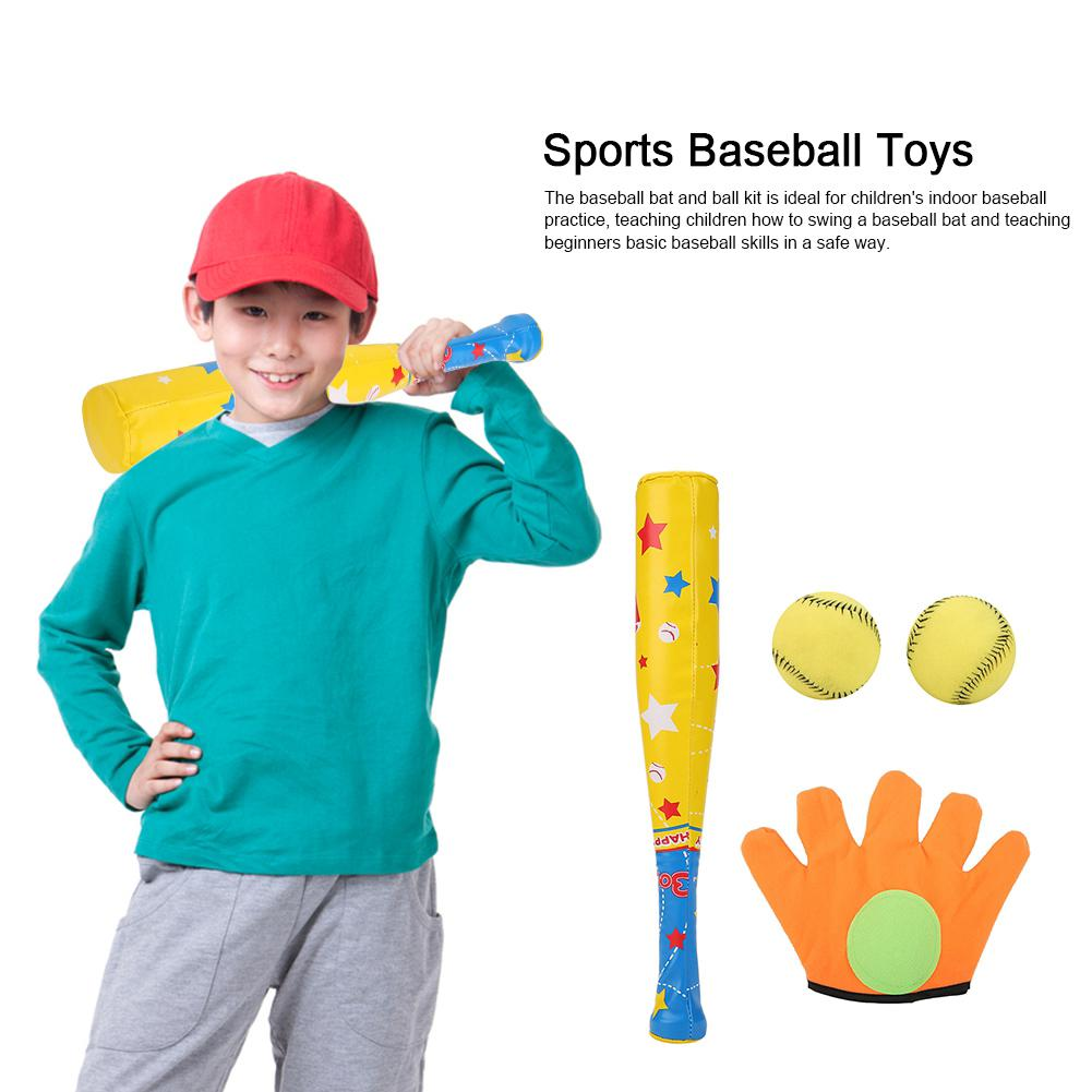 4PCS Sports Baseball Toys Soft Baseball Bat Ball Glove Set