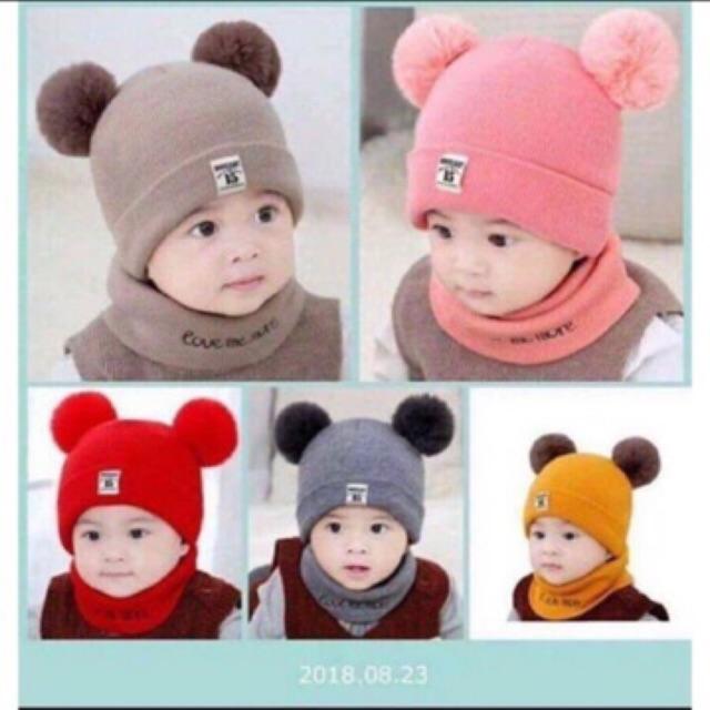 Set mũ và khăn 2 quả bông cho bé 6 tháng đến 3 tuổi