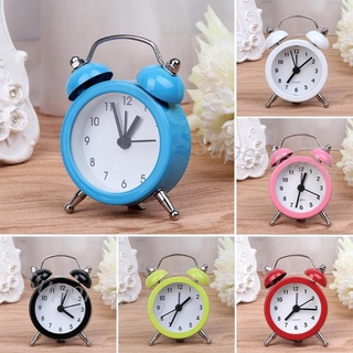 SUP Portable Cute Mini Round Battery Alarm Clock Desktop Table Bedside Clocks Decor