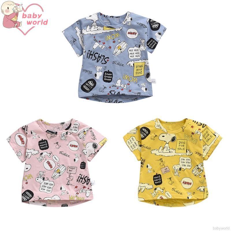 Áo cotton ngắn tay cho bé trai/gái từ 0-6 tuổi họa tiết Snoopy