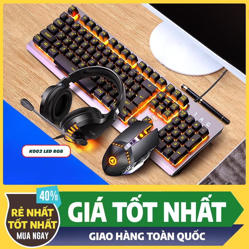 Combo Bộ Bàn Phím Giả Cơ K002 Black LED RGB - Tai nghe Gaming - Chuột Gaming - Pad Chuột ( BH 12 Tháng )