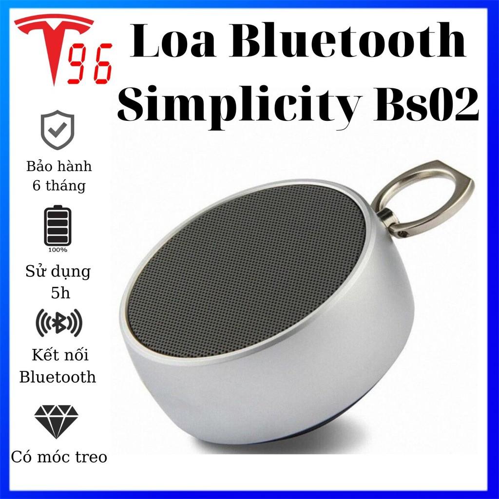 Loa Bluetooth không dây Simplicity Bs02 [BH 6 THÁNG 1 ĐỔI 1 15 NGÀY] có móc  treo tiện lại, hỗ trợ thẻ nhớ và khe cắm 3.5
