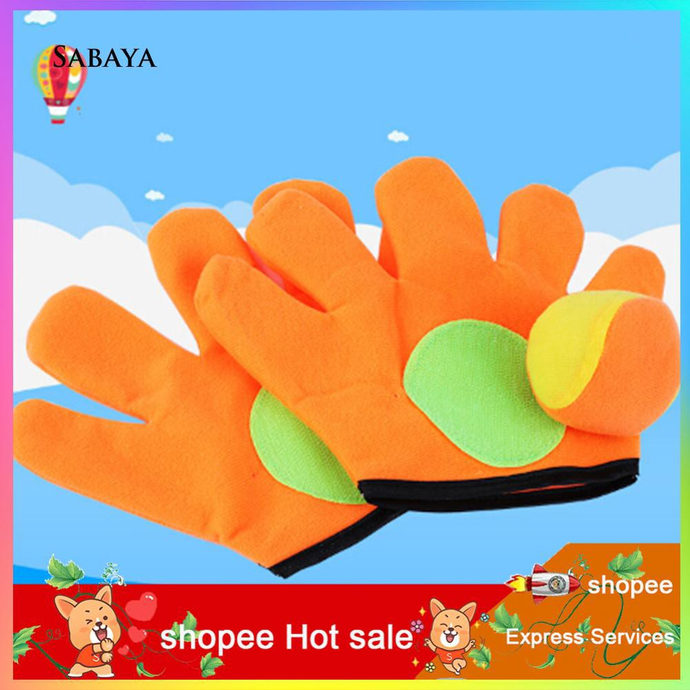 ♝♝♝Outdoor Catch Toy Throw Ball Sucker Racket Sticky Gloves Children Playing Game