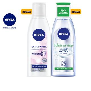 Bộ đôi NIVEA Nước hoa hồng Extra White (200ml) - 86720 và Nước tẩy trang White Oil Clear Micellar Water (200ml) - 86609