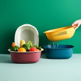 Double-layer vegetable wash basin at home, drain basket, vegetable basket, household kitchen net celebrity washing fruit and vegetable basket, rice washing fruit basin