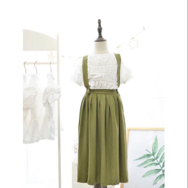 Bộ áo thô trắng nhăn tầng + váy yếm dài LAMBRE