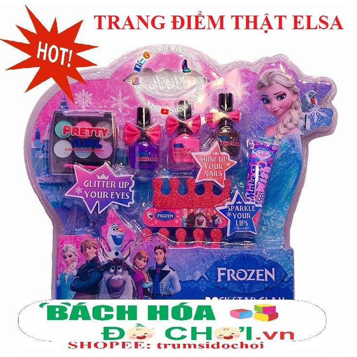 FREESHIP- Vỉ đồ chơi trang điểm thật, sơn móng tay thật công chúa Elsa