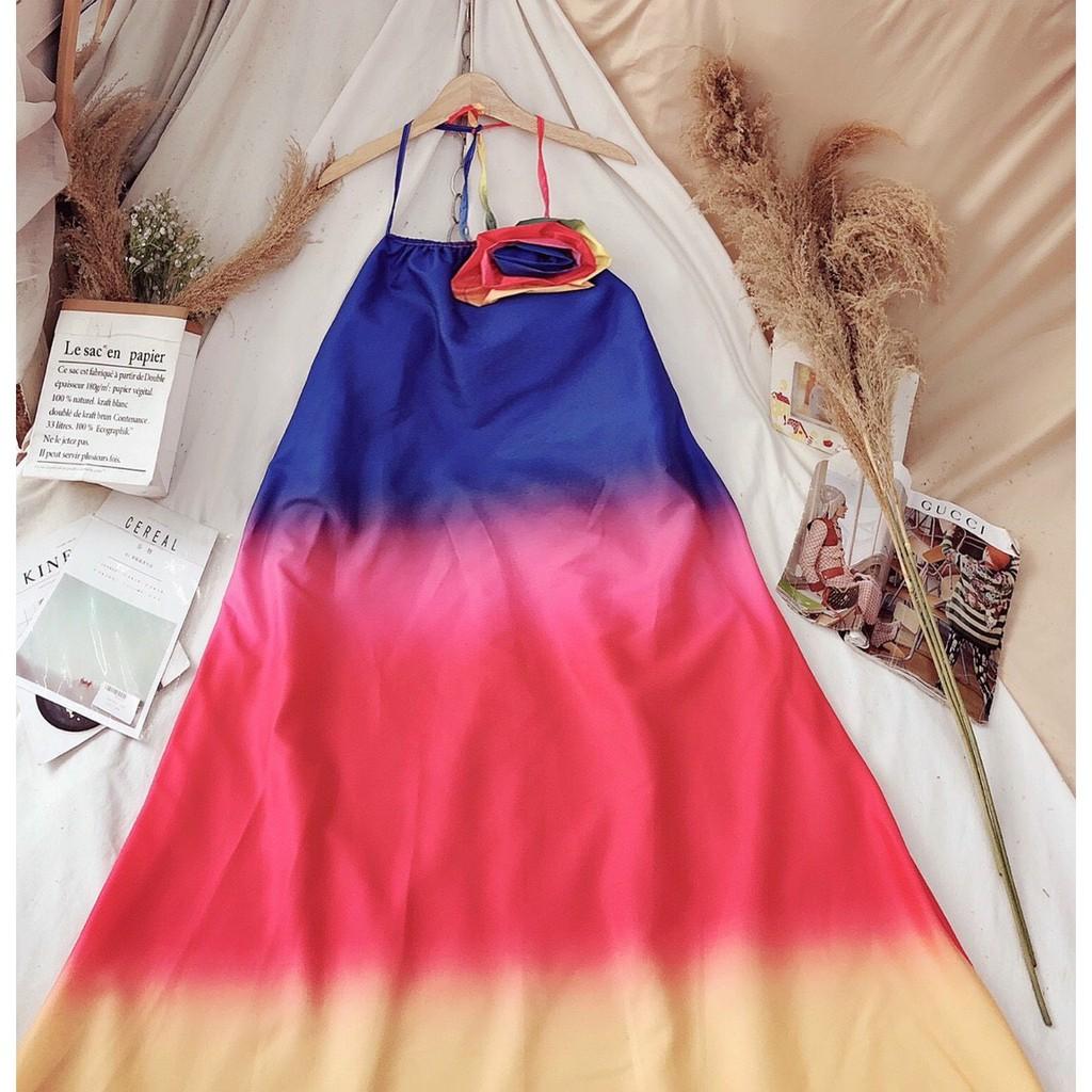 Đầm maxi đi biển cổ yếm loang màu xinh đẹp thả dáng thướt tha phong cách thời trang XUKA-DRESS MT002