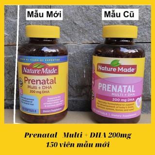 {Date 06- 2022 – mẫu mới} Viên uống bổ bà bầu Nature Made – Prenatal Multi DHA – Chai 150 viên