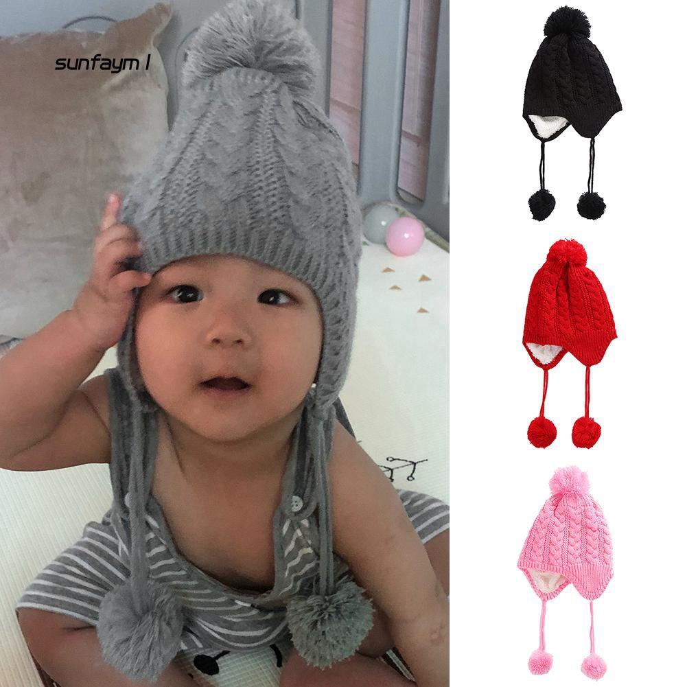 SFM1_Lovely Acrylic Knitting Pom Pom Ball Kids Baby Hat Beanie Outdoor Head Warmer