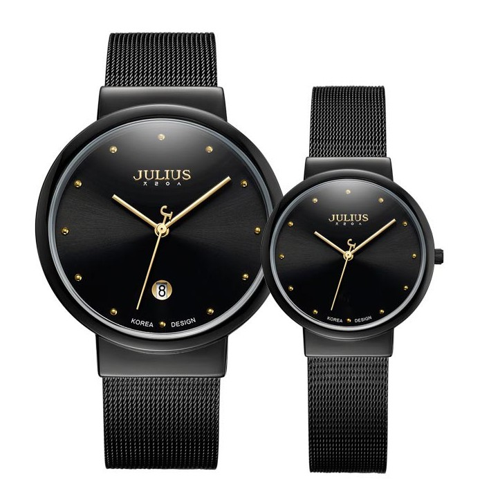 Đồng hồ cặp Julius Ja426 dây thép (đen)