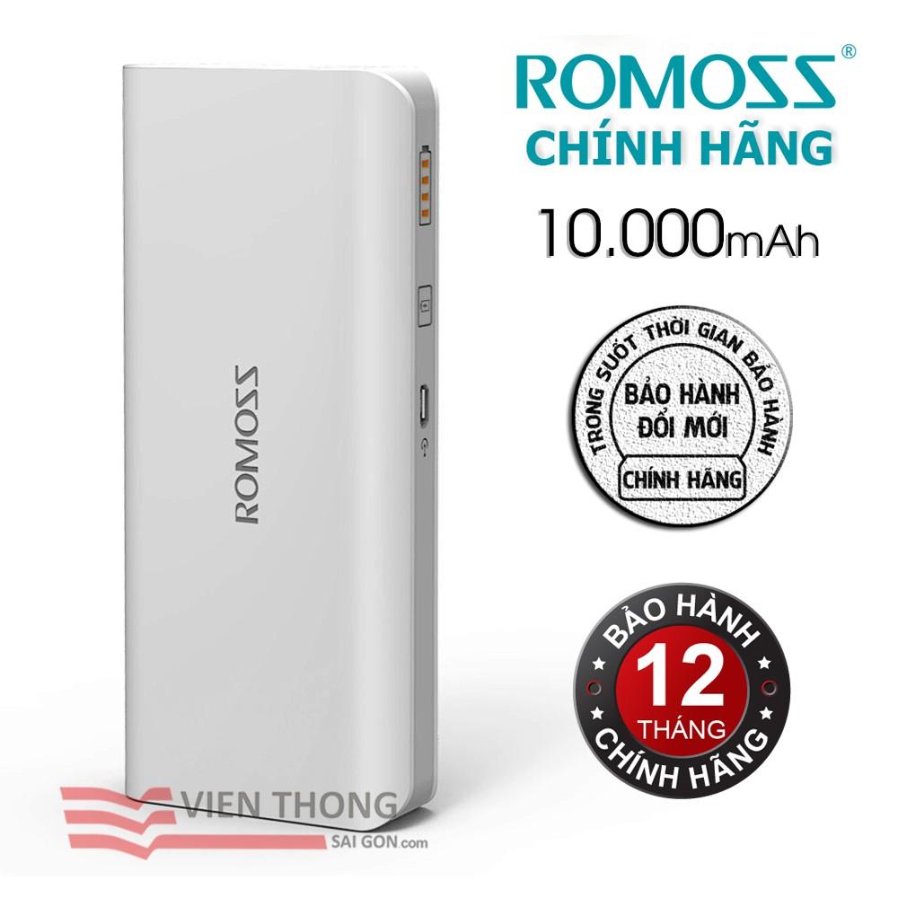 Pin sạc dự phòng 10000mAh Solo 5 Romoss (Trắng) - Hãng phân phối chính thức