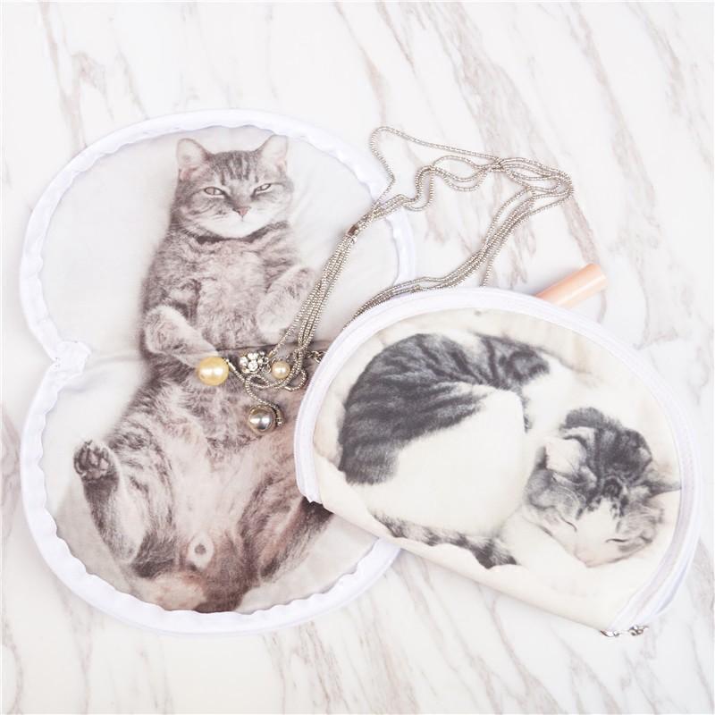 Túi Đựng Mỹ Phẩm In Hình Mèo 3d Kiểu Nhật Bản Dễ Thương