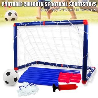 Portable Kids Football Goal Door Gate Toy Set Baby Soccer Ball Kit with Pumps Indoor and Outdoor Sports