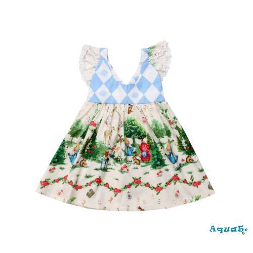 Đầm công chúa tay ngắn phối ren viền xếp nếp họa tiết hoạt hình cho bé gái