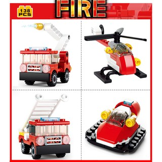 25-276PCS Sluban Building Blocks Educational Kids Construction Toy Fire Police B0593
