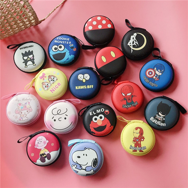 Mini cute small round bag Fresh cartoon earphone storage bag Charger storage bag