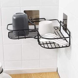 Kệ góc để đồ nhà tắm nhà bếp treo dán góc tường không cần khoan vít