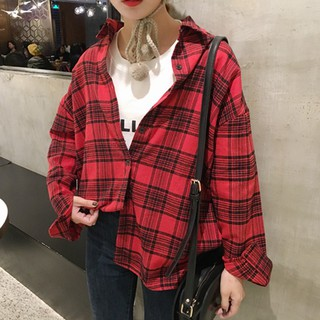 2017 spring new lapel plaid wild shirt Korea long section loose thin long-sleeve