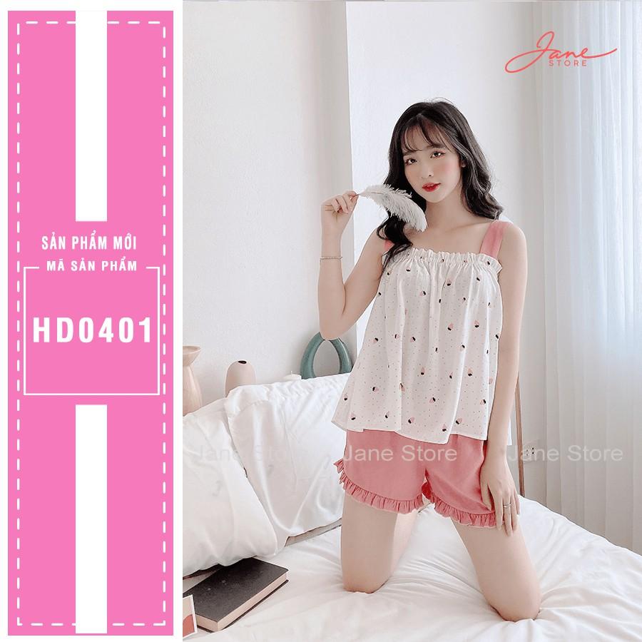 Bộ đồ hai dây bản to JANE màu hồng HD0401