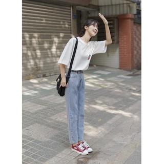 Quần jean, quần bò nữ form baggy ống suông rộng TX-02