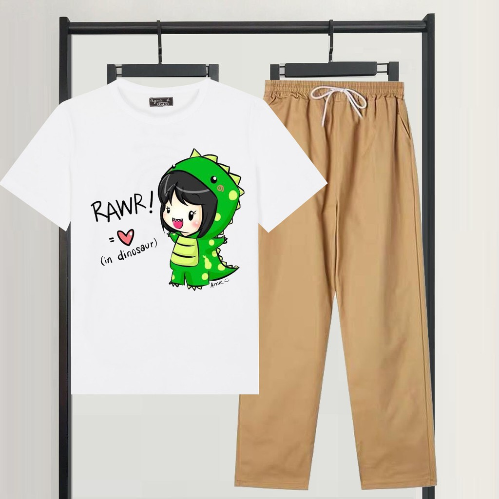 Mặc gì đẹp: Gọn tiện với Sét Bộ Đồ Nữ Mặc Đi Chơi Dự Tiệc, Mặc Ở Nhà Mùa Hè, Áo Phông Cotton Kèm Quần Kaki Phong Cách Hàn Quốc