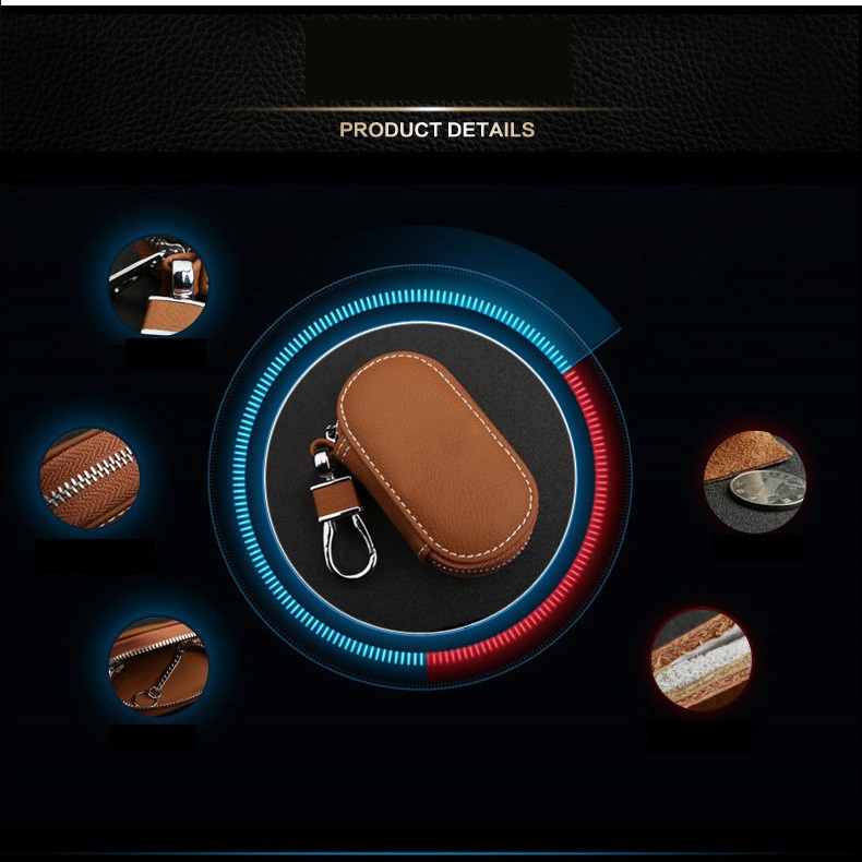 1 Bao da đựng chìa khóa, túi đựng chìa khóa, móc khóa , ô tô, xe hơi, xe máy, xe tải sành điệu, phong cách _C00