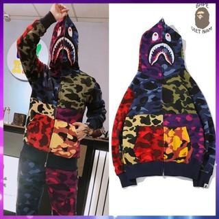 [Ảnh thật + FREESHIP] Jacket Bape Shark x PUBG mix Color fullzip , Áo khoác Hoodie Bape Cá Ngáo