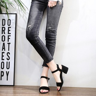 Dép nữ, Sandal cao gót 5 phân da lộn quai ngang đế vuông GCG02 (Form lớn hơn size chuẩn 1 size)