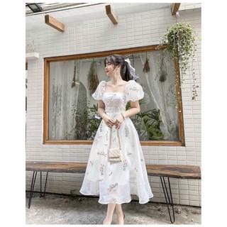 Đầm trắng hoa nút bọc tay voan 💖 KÈM ẢNH THẬT 💖 BAO KIỂM ❌