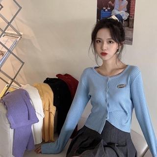 Áo Croptop Dệt Kim Tay Dài Cổ Tròn Kiểu Hàn Quốc Xinh Xắn Cho Nữ