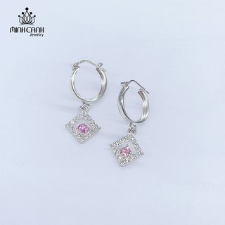Bông Tai Bạc Trẻ Em Hình Thoi Đính Đá - Minh Canh Jewelry