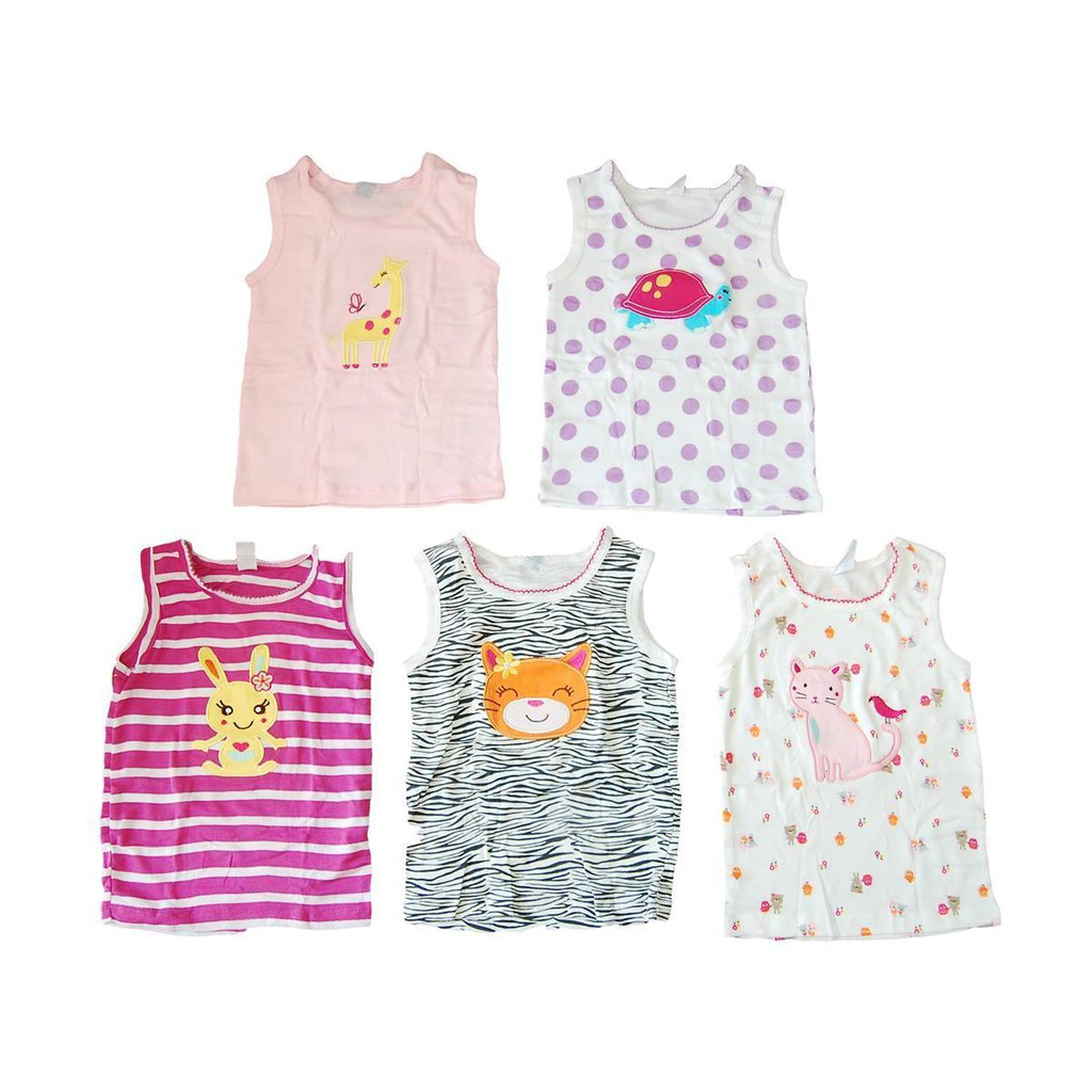 Bộ 5 áo ba lỗ bé gái Carter