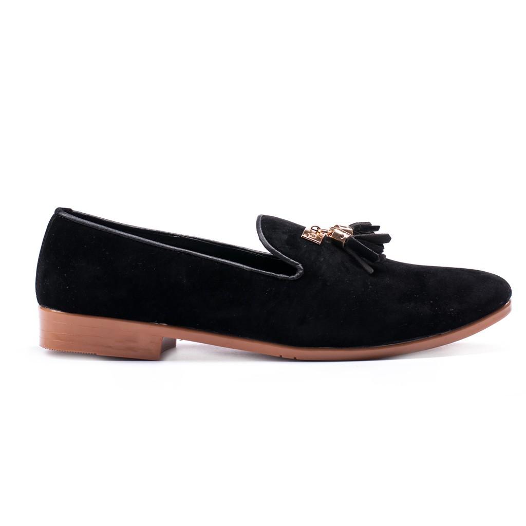 Giày Lười Nam Đẹp Đế Khâu Chuông Vàng Da Búc Màu Đen Sang Trọng - M124-BUCK(GB)- Kèm Vòng Gỗ Bách Xanh