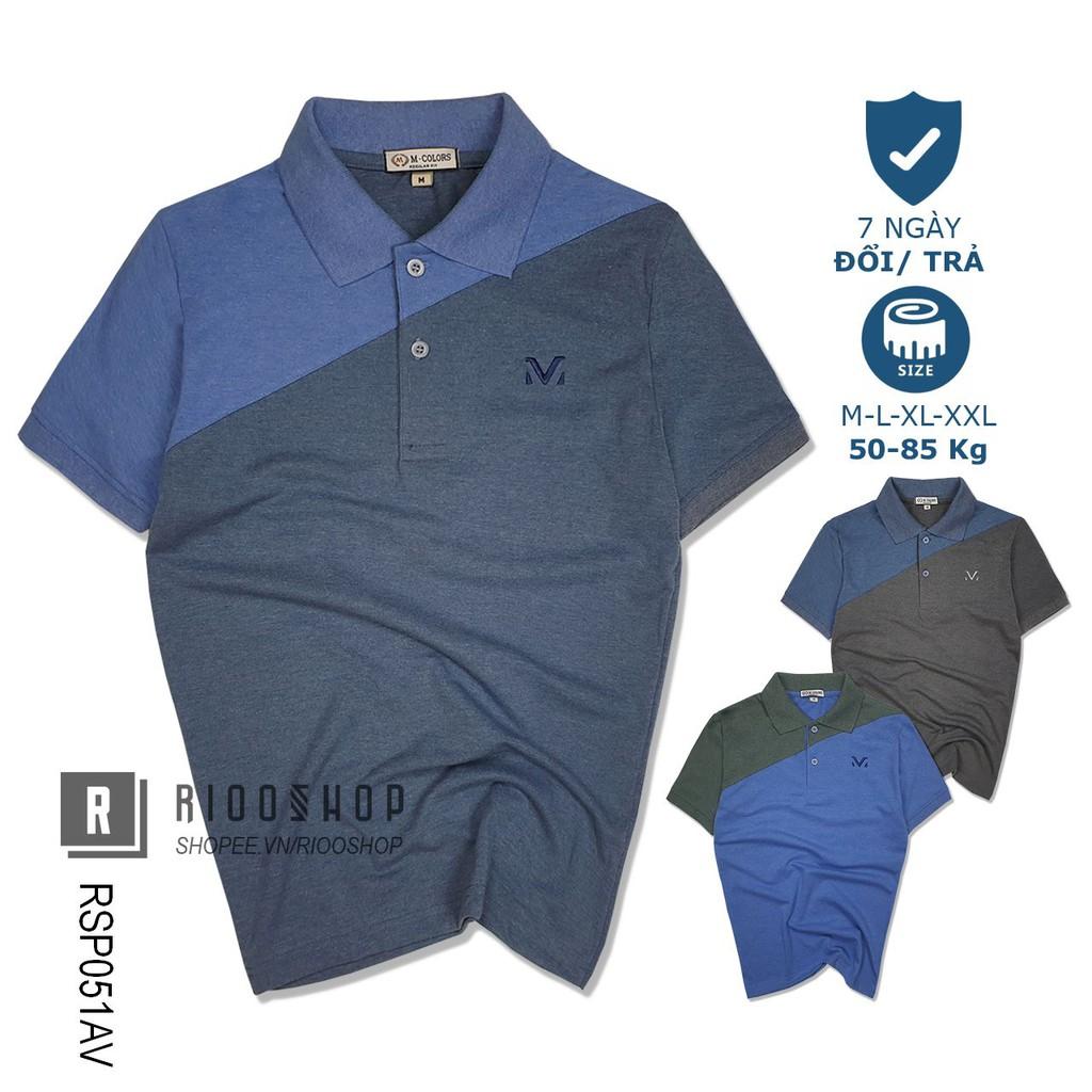 Áo thun polo nam ngắn tay form rộng M-color phối 2 màu RSP051AV - áo phông nam có cổ Riooshop
