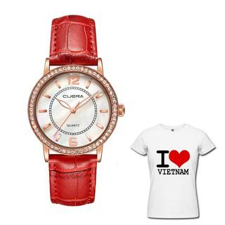 Đồng hồ nữ CUENA 6626 viền đính đá cực xinh + tặng áo phông