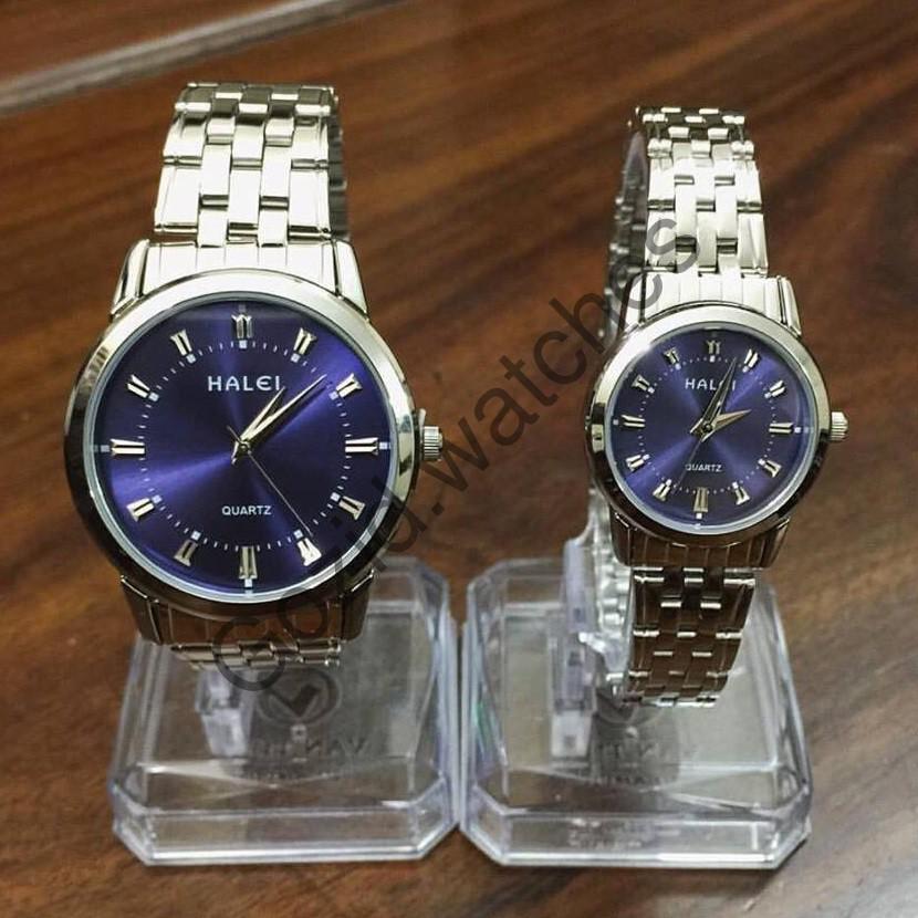 Đồng hồ đôi HALEI 502 dây kim loại mặt tím thủy chung thích hợp cho cặp đôi -Gozid.watches