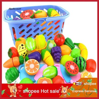 LYY_Fruit Vegetable Food Cutting Set Reusable Role Play Pretend Kitchen Kids Toys