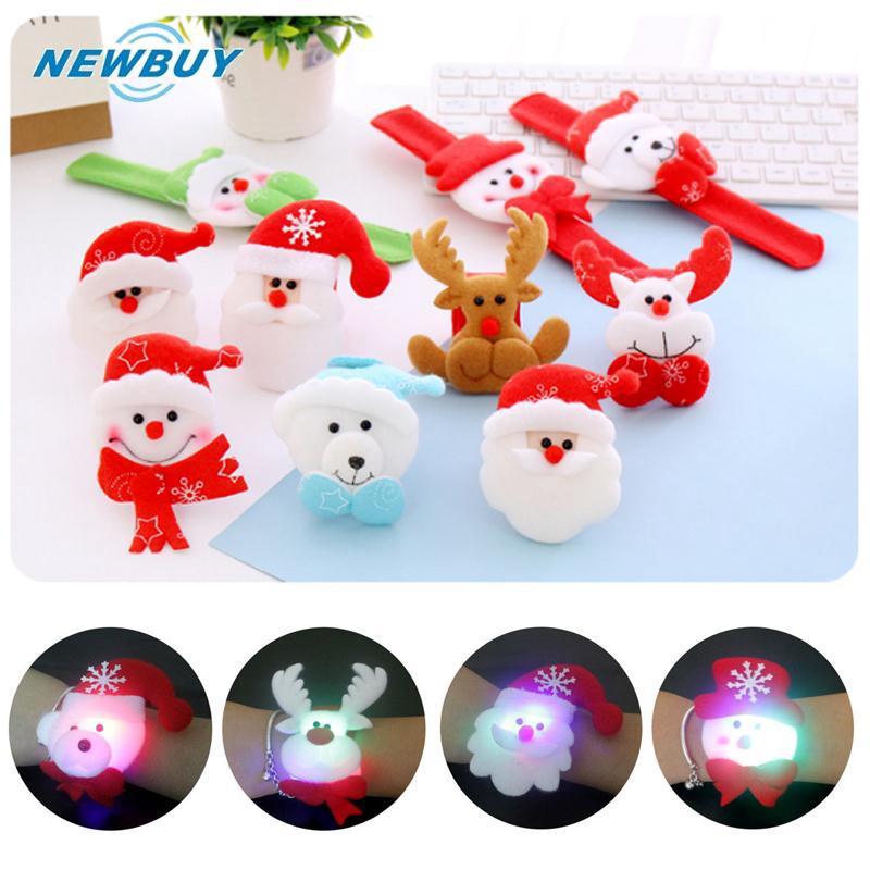 1PC Christmas Hand Circle Slap/Clap Bracelet W/Light Decoration Children Kids