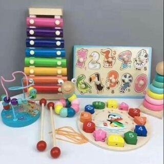 [LOẠI 1] Set 6 món đồ chơi trí tuệ bằng gỗ cho bé