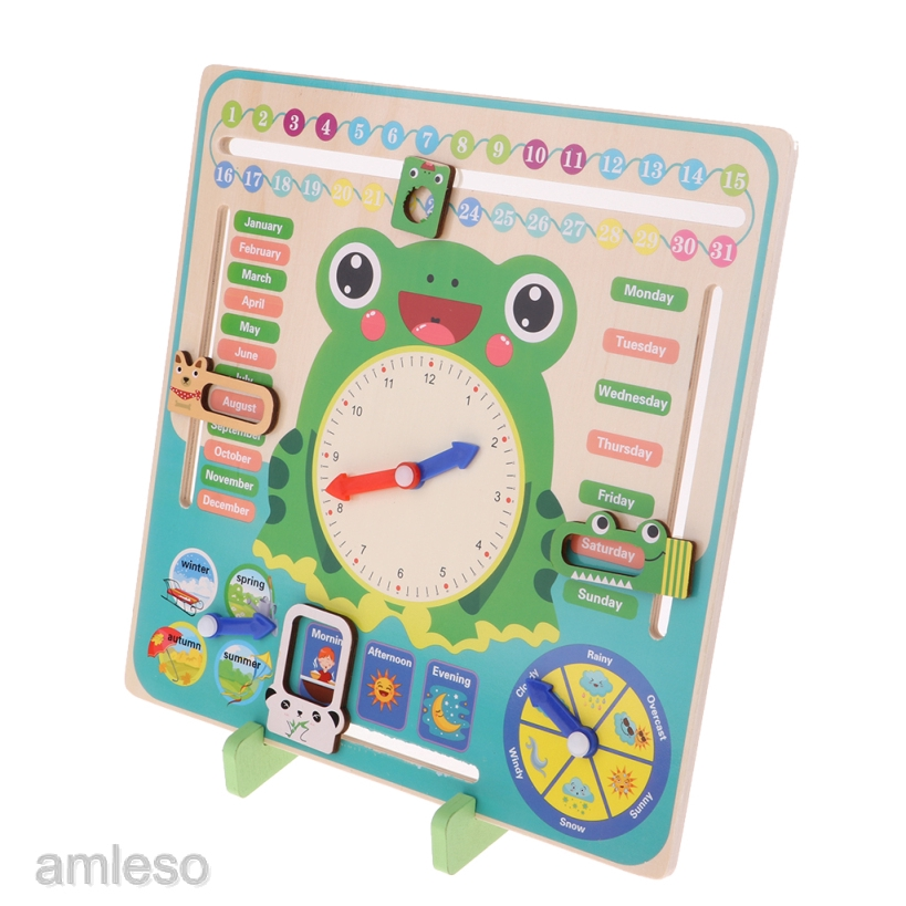 [AMLESO] Wood Calendar Clock Learn Time Date Weather Educational Toy for Boys Girls