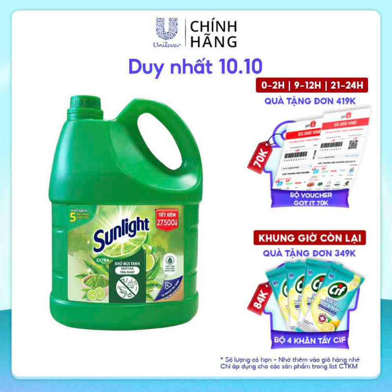 Nước rửa chén Sunlight Matcha Trà Nhật chai 3.6kg (MỚI)