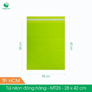 MT2X - 28x42 cm - Túi nilon gói hàng - 100 túi niêm phong đóng hàng màu xanh lá mạ thumbnail