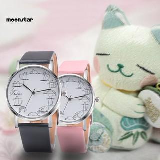 Đồng hồ mặt in hình mèo dễ thương dây giả da dành cho nữ thumbnail