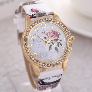 Đồng hồ nữ Dan đính đá dây da khóa cài phong cách Hàn Quốc_DHO003